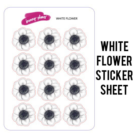 White Flower Planner Stickers