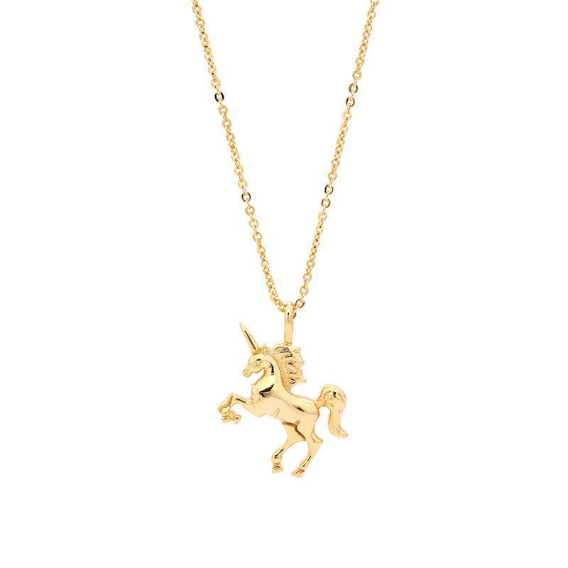 Sterling Silver Realistic Unicorn Pendant Necklace s54ZpQxD