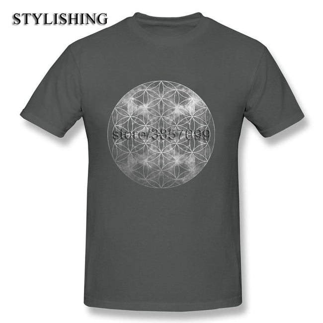 0732c7fd1b New Arrival NaturalCotton Short Sleeves Round Collar Hipster Tee Shirt For  Men Flower of Life