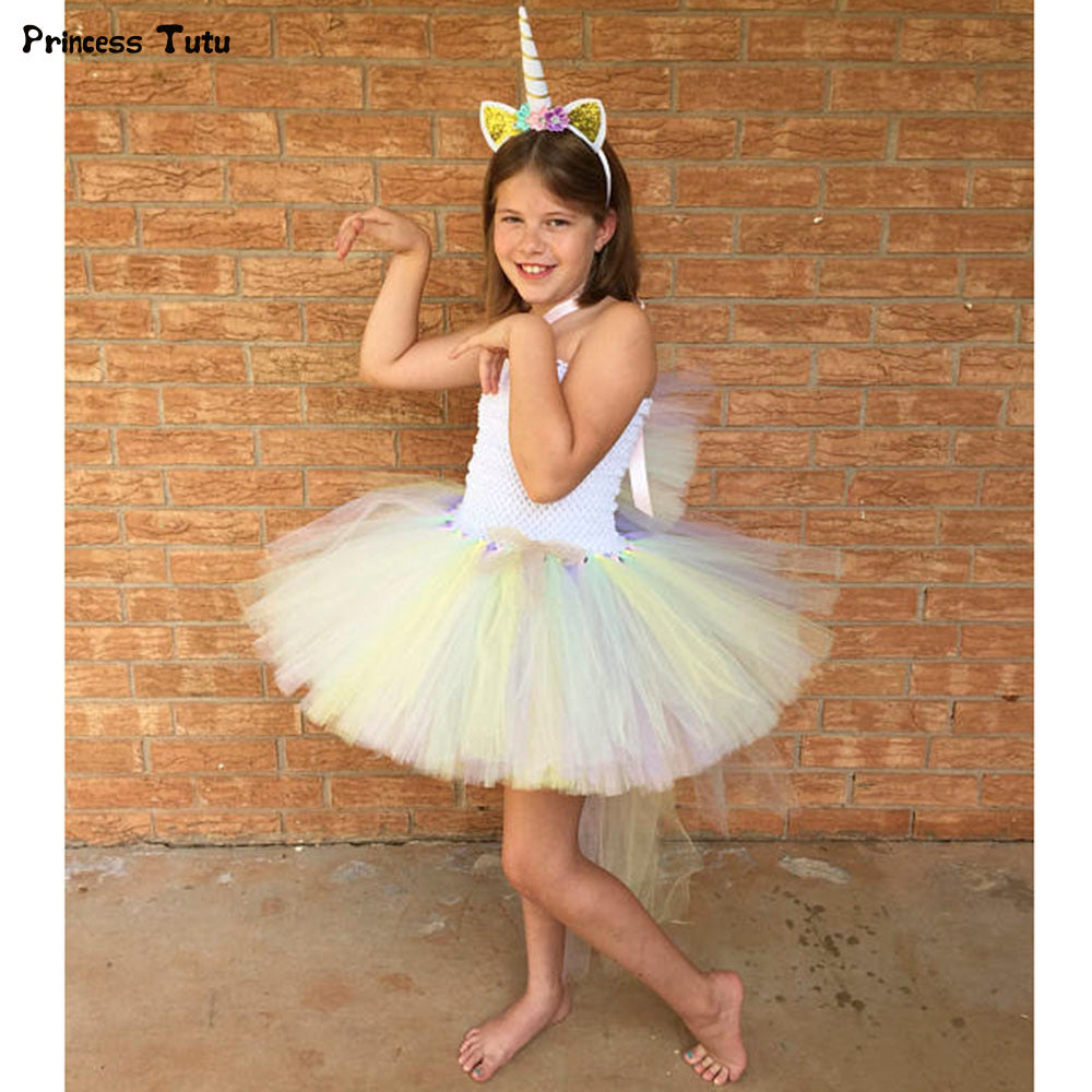 Pony Unicorn Kids Tutu Dress Princess Rainbow Girl Birthday Party Dresses  Children Girl Christmas Halloween Cosplay ... 5b007b8652ef