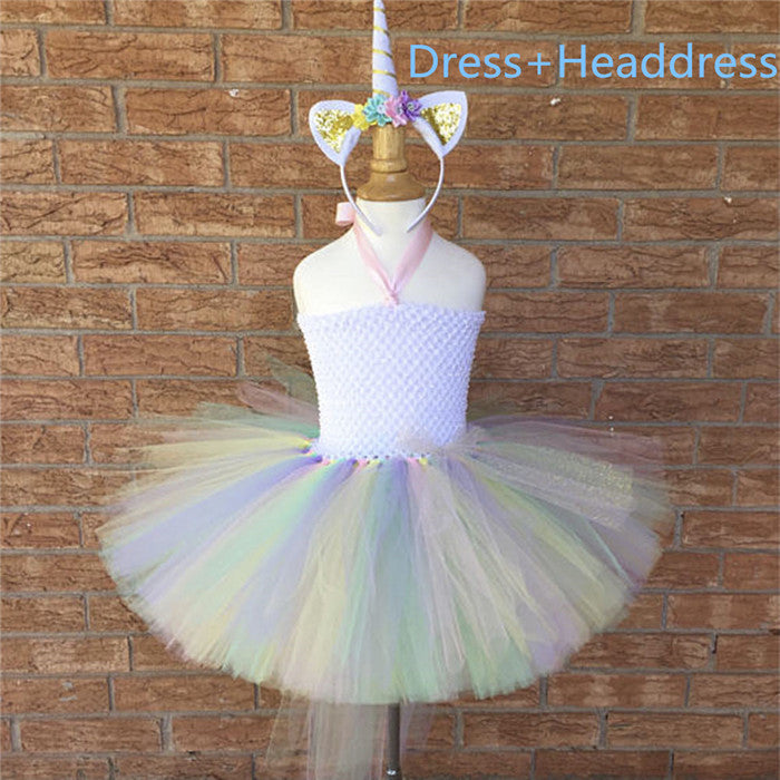 ... Pony Unicorn Kids Tutu Dress Princess Rainbow Girl Birthday Party  Dresses Children Girl Christmas Halloween Cosplay ... 399dda3076bb