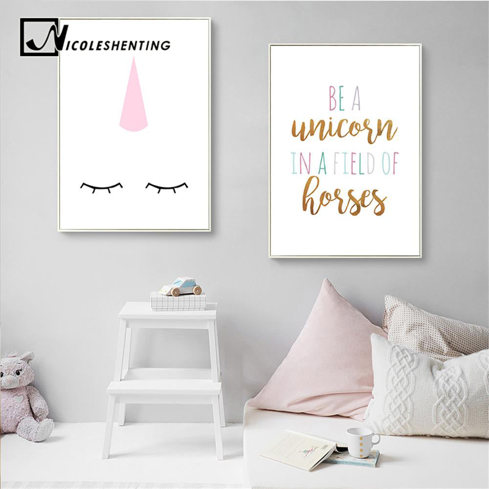 ... Unicorn Nursery Quote Wall Art Canvas Posters Cartoon Minimalist Prints  Nordic Painting Picture Kids Baby Bedrooom ...