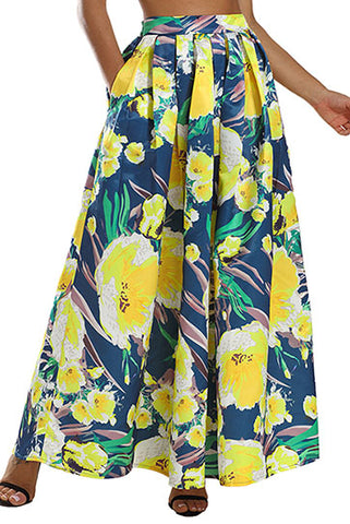 Navy Yellow Floral Elegant Flared Maxi Skirt