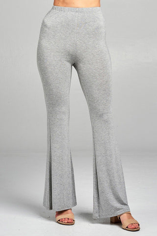 Heather grey stretchy bell bottom jersey pants