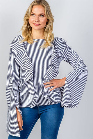 Charcoal ruffle striped shirt