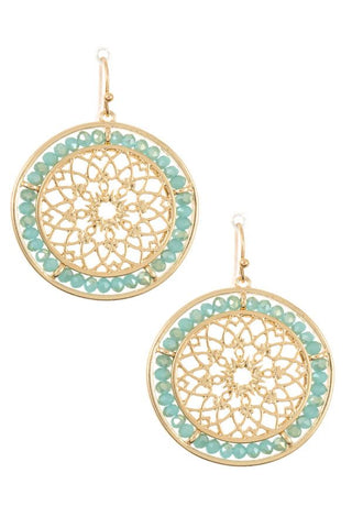 Mandala beaded round earrings