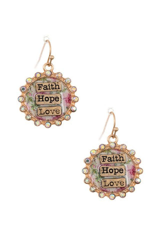 Faith hop love rhinestone framed earrings