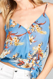 Blue v-neck wrap waist tie floral printed cami top