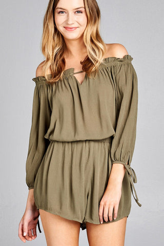 Burnt Olive Off The Shoulder drawstring romper