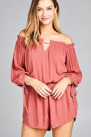 Old Rose Off The Shoulder drawstring romper