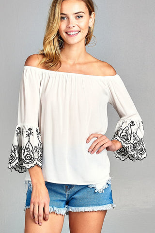 Off White/Black off the shoulder woven top