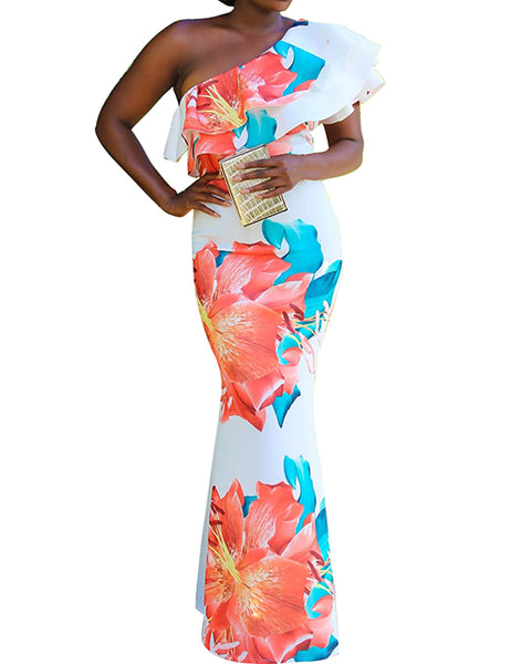 One Shoulder Floral Mermaid Dress