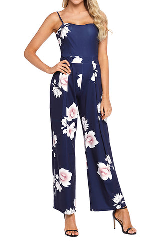 Navy Blue Wide Leg Jumpsuit - SMALL