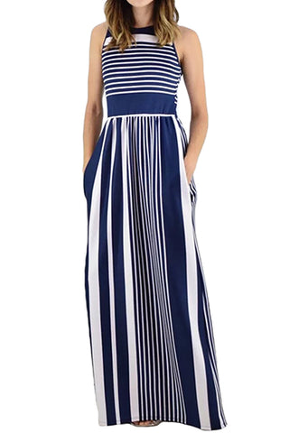 Navy White Striped Pocketed Maxi Dress