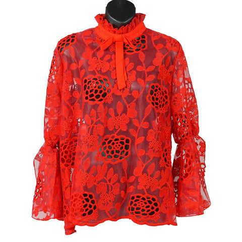 Red Lace Neck-Tie Blouse