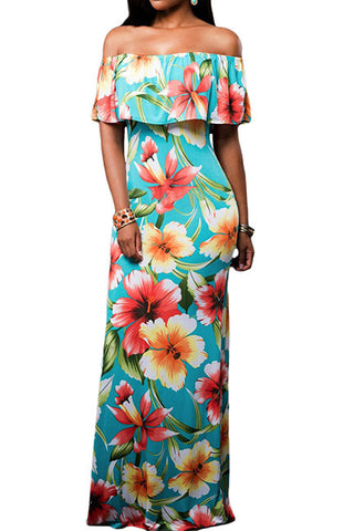 Turquoise Tropical Rose  Maxi Dress