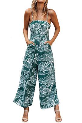 Leaf Print Wide Leg Jumpsuit - LARGE