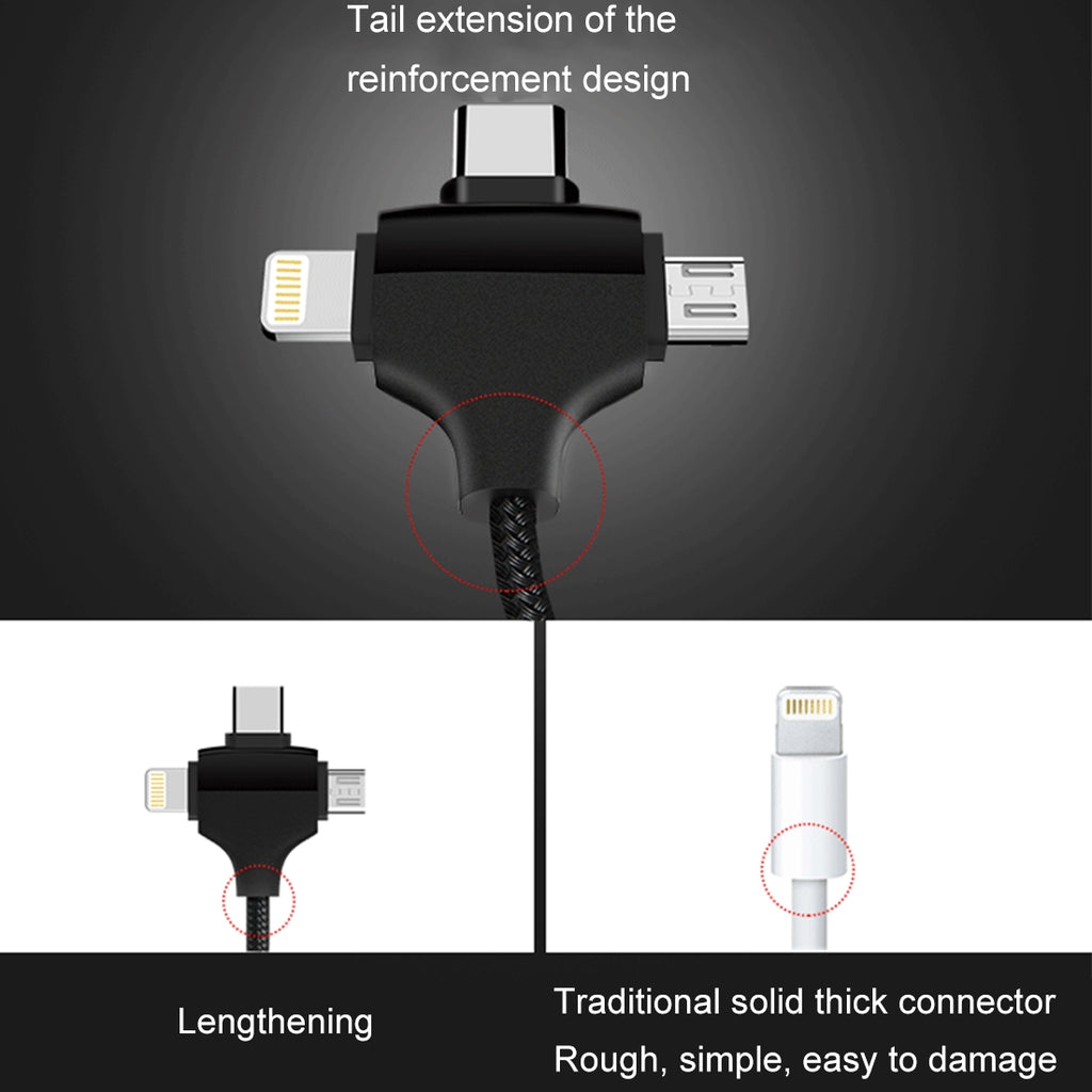 Image result for JOYROOM 3 in 1 Nylon Braided 2.4A USB Type C + iPhone + Micro USB Multi Charging Cable