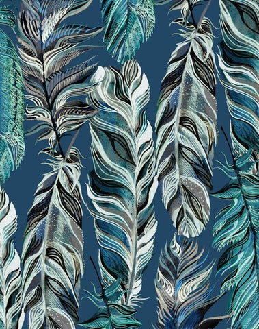 Patterned Feathers White, Teal, Gray, Navy, Turquoise, Olive Green