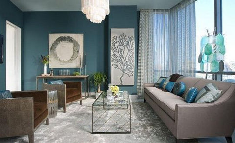 Teal, Gray, Turquoise, Navy, White, Pale Olive Colors create this beautiful space