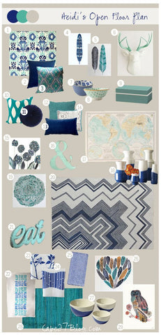 Room Mood Board for the Colors Teal, Gray, Turquoise, Navy, White, Pale Olive Green