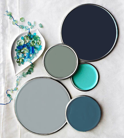 Eye Love Hue Paint Colors Urban Blue, Olive Hue, Indian Jewel, Grey 51, Teal Magnolia