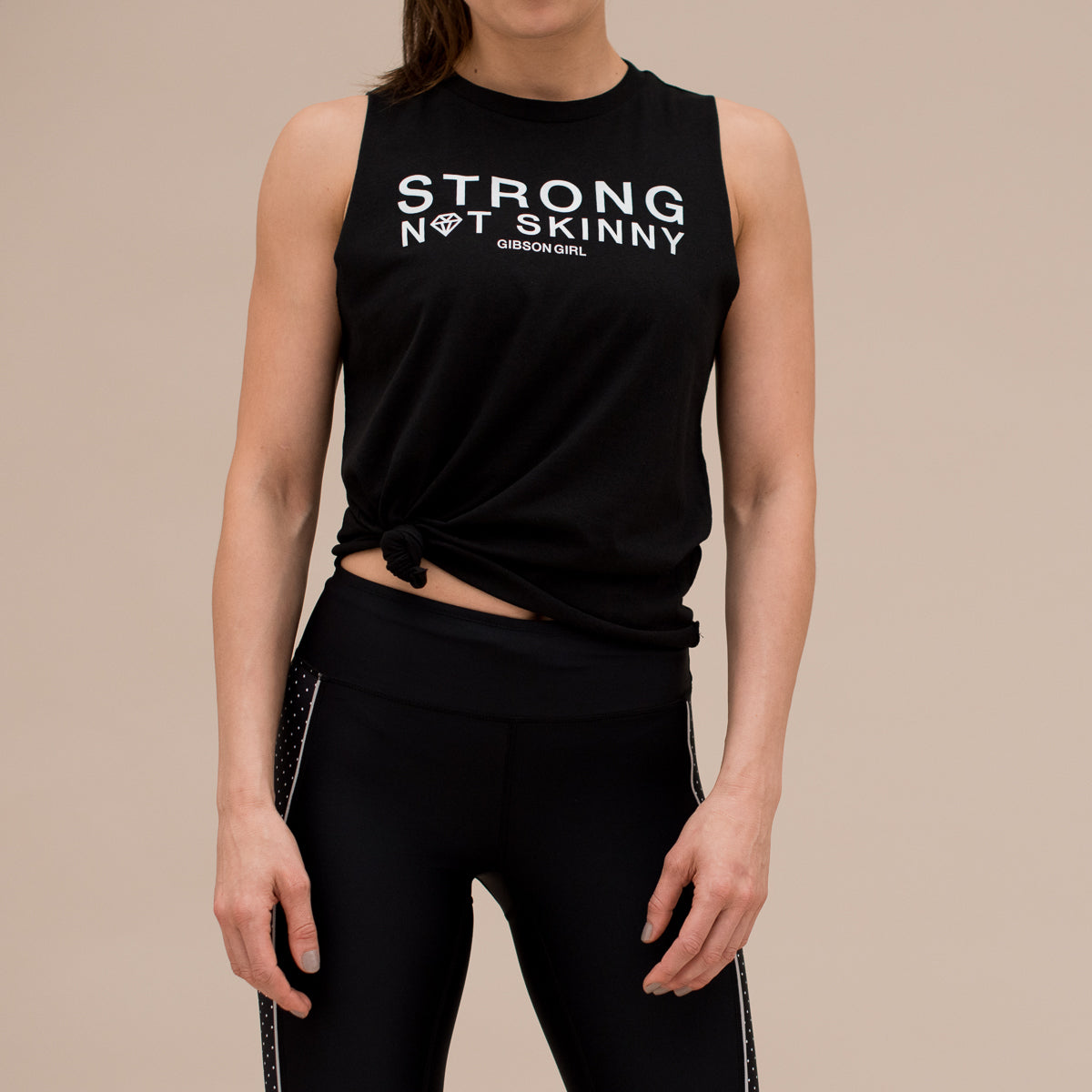 410cb5ecebd42 Slogan Women s Workout Top - Strong Not Skinny Tank - Black   White ...