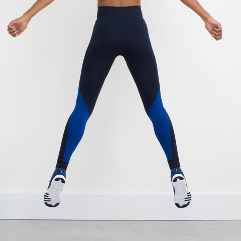 Seamless Game On luxe Leggings – Black / Royal Blue