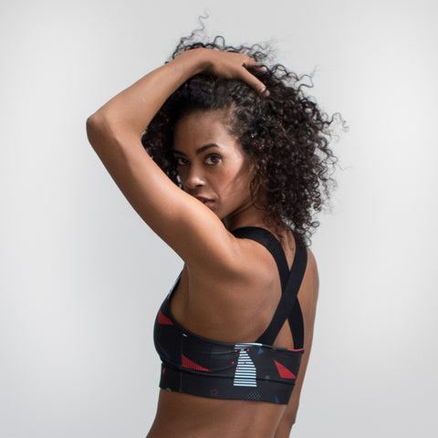 Mid support Sports Bra -Jump Crop Top – Black Print