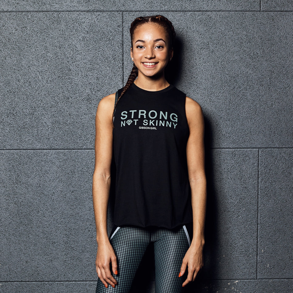 Slogan Women's Workout Top - Strong Not Skinny Tank - Black / Khaki print