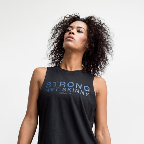 Slogan Women's Workout Top - Strong Not Skinny Tank - Black / Royal Blue print
