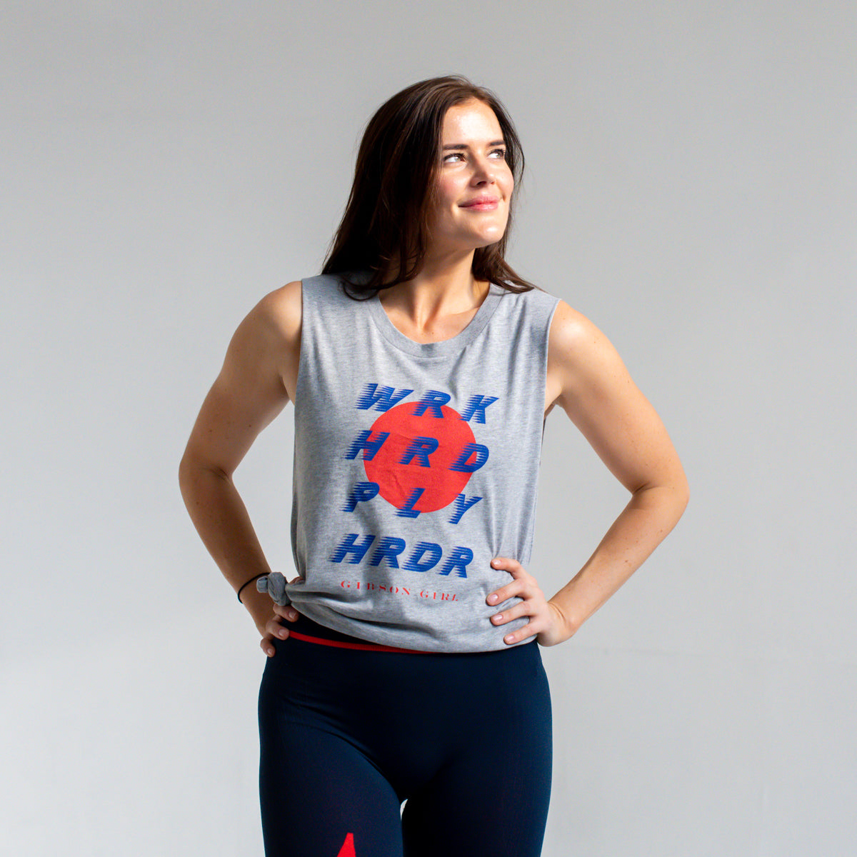 WORK HARD PLAY HARDER! Slogan Women's Workout Top - Grey Marl/Blue/Red print