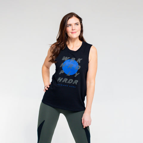 WORK HARD PLAY HARDER! Slogan Women's Workout Top - Black/Blue/Khaki print
