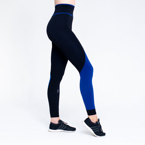 Winner High Waisted seamless leggings - Black/Royal Blue