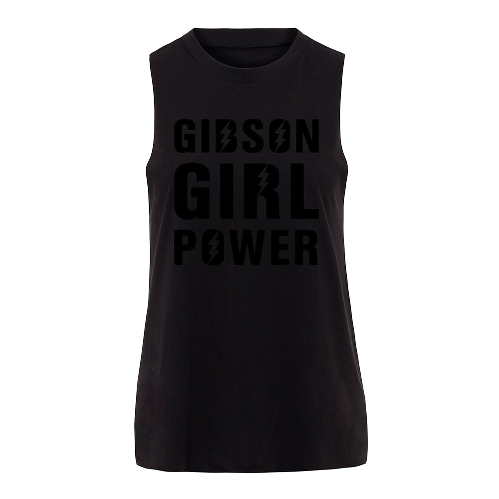 Slogan Women's Workout Top - Gibson Girl Power – Black