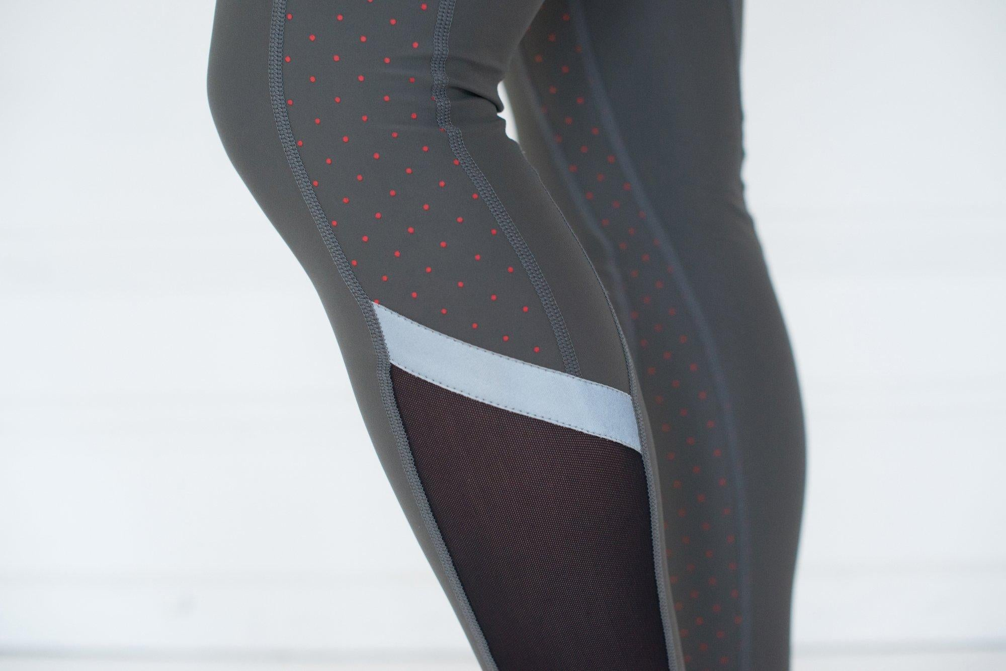 Women's Training tights - On Point Leggings - Iron Grey/ Tiger Polka Dot Print
