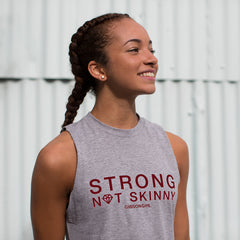 Slogan Women's Workout Top - Strong Not Skinny Tank - Grey Marl / Berry print
