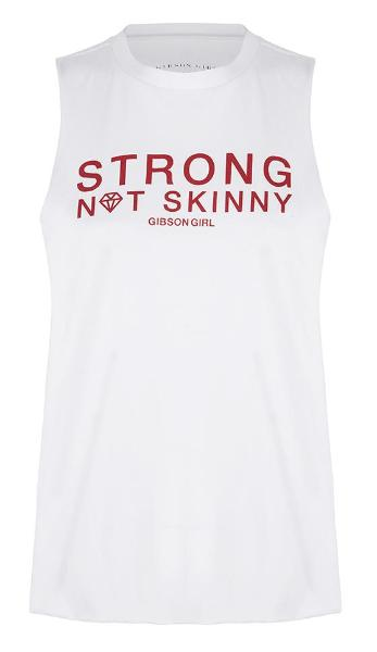 Slogan Women's Workout Top - Strong Not Skinny Tank -White / Red print