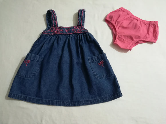 Sugar Pink  - Pinafore Dress & Knickers - 6-9 Months - Preloved & Perfect