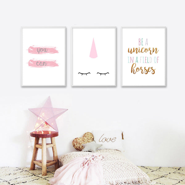Unicorn Nursery Quote Wall Art Canvas Posters Cartoon Minimalist Prints Nordic Painting Picture Kids Baby Bedrooom Decoration