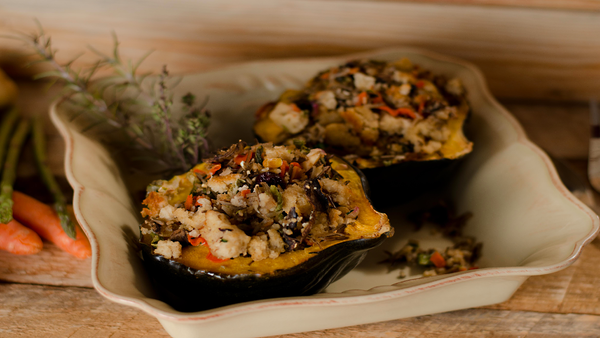 Stuffed Acorn Squash with Wild Rice & Porcini Mushrooms