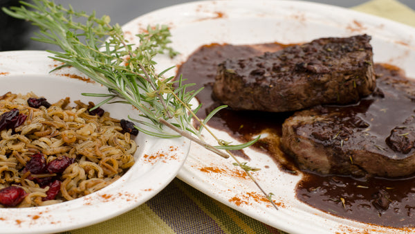 Seared Steak with Chocolate Sauce & Wild Rice with Cranberries