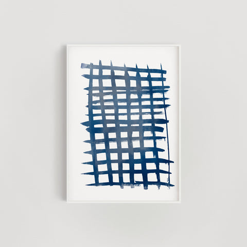 Abstract Brush Grid Wall Art Print - Navy