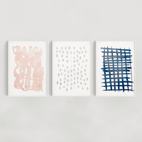 Set of 3 Abstract Brush Wall Art Prints - Navy, Grey and Blush