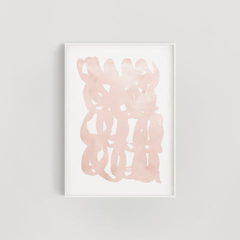Abstract Brush Squiggles Wall Art Print - Blush Pink