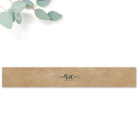 Astbury Navy Blue Kraft Rustic Floral Wedding Belly band with monogram