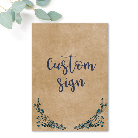 Astbury Navy Blue Kraft Rustic Floral Wedding Custom Sign