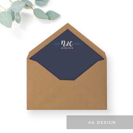Astbury Navy Blue Kraft Rustic Floral Wedding Envelope Liners with monogram A5