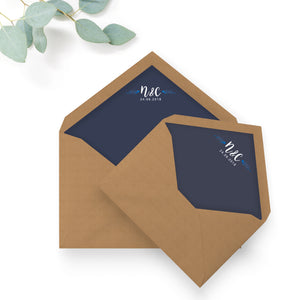Astbury Navy Blue Kraft Rustic Floral Wedding Envelope Liners with monogram