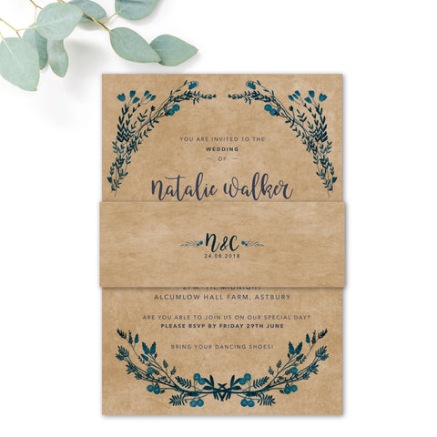 Astbury Navy Blue Kraft Rustic Floral Wedding Invitation with Kraft Belly band
